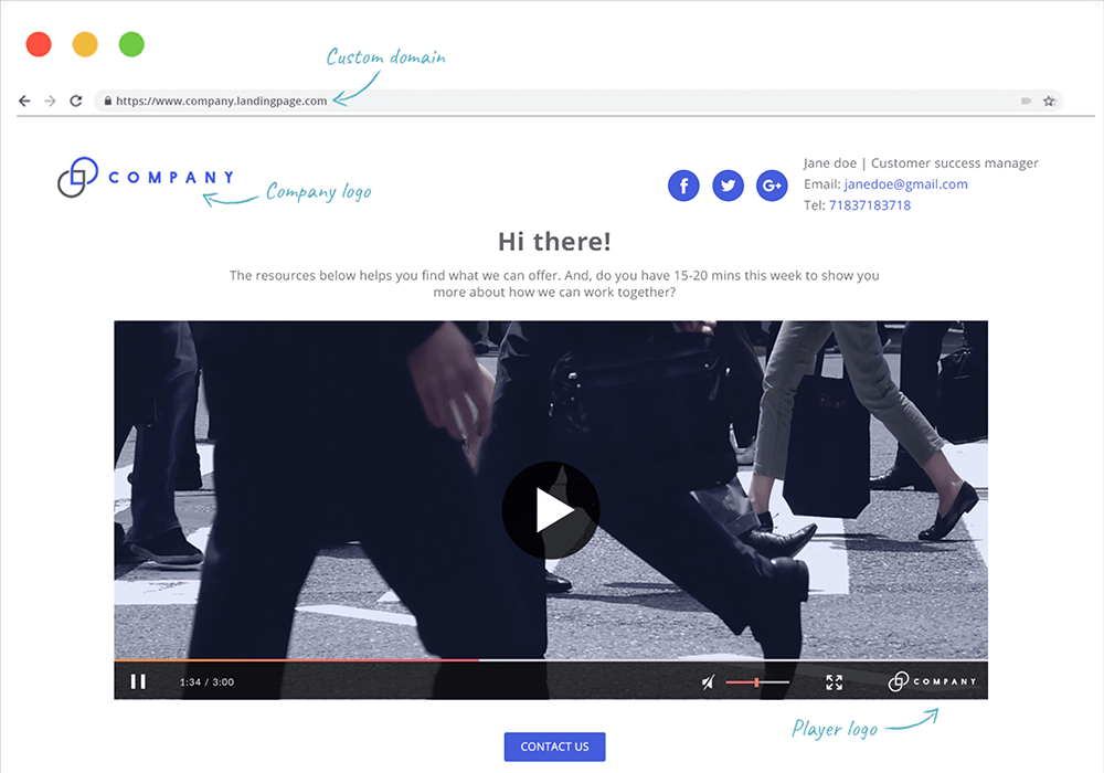 Send personalized video landing pages